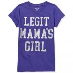 Girls Short Sleeve Glitter 'Mama's Girl' Graphic Tee