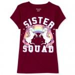 Girls Short Sleeve Glitter 'Sister Squad' Unicorn Graphic Tee