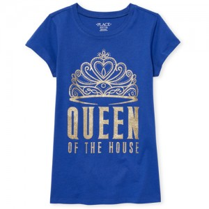 Girls Short Sleeve Glitter 'Queen Of The House' Crown Graphic Tee
