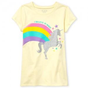 Girls Short Sleeve 'I Believe In Magic' Glitter Unicorn Rainbow Graphic Tee
