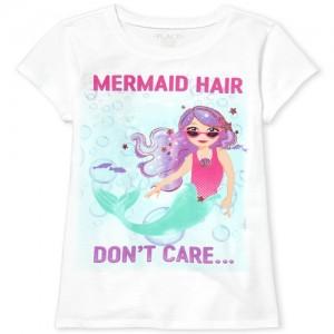 Girls Short Sleeve Glitter 'Mermaid Hair Don't Care' Graphic Tee