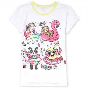 Girls Short Sleeve Glitter 'Summer Vibes' Emoji Floats Graphic Tee