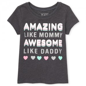 Baby And Toddler Girls Short Sleeve Glitter 'Amazing Mommy' Graphic Tee