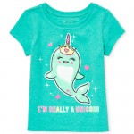 Baby And Toddler Girls Short Sleeve Glitter 'Unicorn' Narwhal Graphic Tee