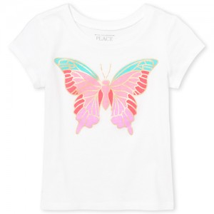 Baby And Toddler Girls Short Sleeve Butterfly Graphic Tee