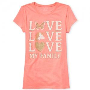 Girls Short Sleeve Glitter 'Love My Family' Unicorn Neon Graphic Tee