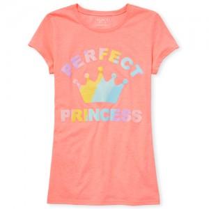 Girls Short Sleeve Glitter 'Perfect Princess' Crown Neon Graphic Tee