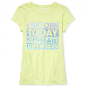 Girls Short Sleeve Iridescent Foil 'Unicorn Today Mermaid Tomorrow' Graphic Tee