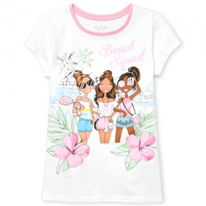 Girls Short Sleeve 'Beach Squad' Graphic Tee
