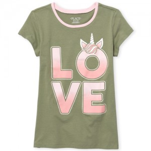 Girls Short Sleeve Glitter 'Love' Unicorn Graphic Tee