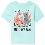 Baby And Toddler Boys Short Sleeve 'Me And My Fam' Dino Graphic Tee