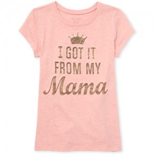 Girls Mommy And Me Short Sleeve Foil 'I Got It From My Mama' Matching Graphic Tee