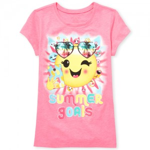 Girls Short Sleeve 'Summer Goals' Emoji Neon Graphic Tee