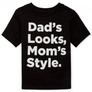 Baby And Toddler Boys Short Sleeve 'Dad's Looks Mom's Style' Graphic Tee