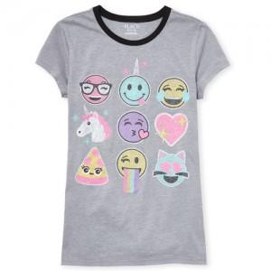 Girls Short Sleeve Glitter Unicorn And Emoji Graphic Tee