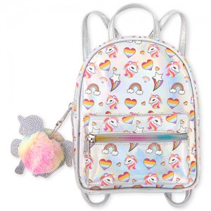 Girls Unicorn Heart Print Holographic Mini Backpack