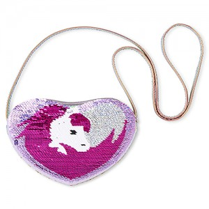 Girls Flip Sequin Unicorn Holographic Heart Bag