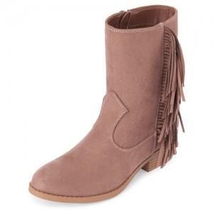 Girls Fringe Suede Boots