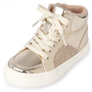 Toddler Girls Metallic Hi Top Sneakers