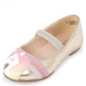 Toddler Girls Glitter Unicorn Metallic Ballet Flats