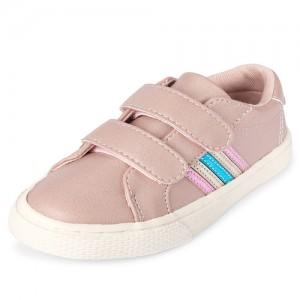 Toddler Girls Metallic Side Stripe Low Top Sneakers