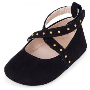 Baby Girls Studded Ankle Strap Flats
