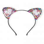 Girls Flip Sequin Heart Cat Ears Headband