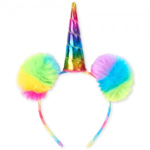Toddler Girls Rainbow Unicorn Pom Pom Headband