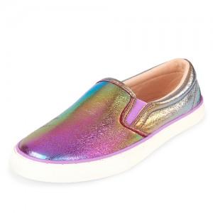 Girls Metallic Rainbow Ombre Slip On Sneakers