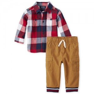 Baby Boys Long Sleeve Check Print Twill Button Down Shirt And Woven Pull On Cargo Pants Set