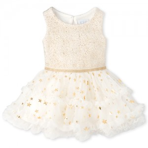 Baby Girls Foil Star Tutu Dress And Bloomers Set