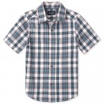 Boys Short Sleeve Plaid Poplin Button Down Shirt