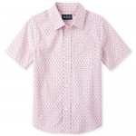 Boys Short Sleeve Print Poplin Button Down Shirt