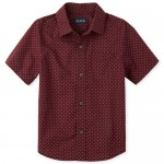 Boys Short Sleeve X Print Poplin Button Down Shirt