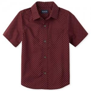 Boys Short Sleeve X Print Poplin Button Down Shirt