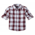 Boys Long Roll Up Sleeve Plaid Poplin Button Down Shirt