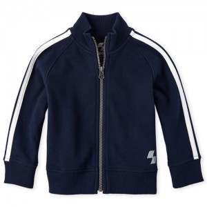 Baby And Toddler Boys PLACE Sport Striped Sleeve Fleece Track Jacket