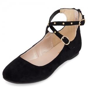 Girls Studded Ankle Strap Ballet Flats