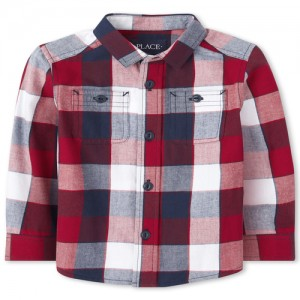 Baby And Toddler Boys Long Sleeve Check Print Twill Button Down Shirt