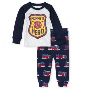Baby And Toddler Boys Long Sleeve Fire Truck Snug Fit Cotton Pajamas