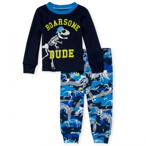 Baby And Toddler Boys Long Sleeve Glow In The Dark 'Roarsome Dude' Snug Fit Cotton Pajamas