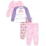 Baby And Toddler Girls Unicorn Rainbow Snug Fit Cotton 4-Piece Pajamas