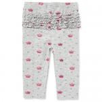 Baby Girls Crown Print Ruffle Leggings