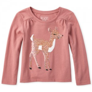 Baby And Toddler Girls Long Sleeve Embellished Graphic Top