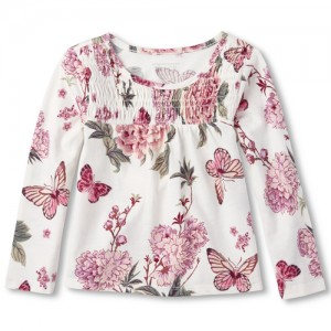 Baby And Toddler Girls Long Sleeve Butterfly Print Smocked Top