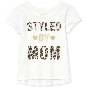 Baby And Toddler Girls Short Sleeve Glitter Graphic Top