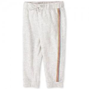 Baby And Toddler Girls Active Glitter Side Stripe Fleece Jogger Pants