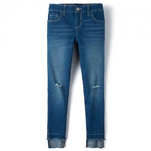 Girls Step Hem Distressed Denim Jeans
