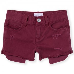 Girls Exposed Pocked Distressed Denim Shortie Shorts