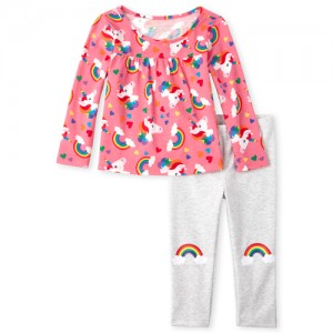 Baby And Toddler Girls Long Sleeve Rainbow Unicorn Top And Leggings Set